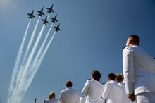The U.S. Navy's Blue Angels fly over the graduation ceremony for the U.S. Naval Academy's class of 2012 at the Navy-Marine Corps Stadium in Annapolis on Tuesday, May 29, 2012. (Andrew Harnik/The Washington Times)