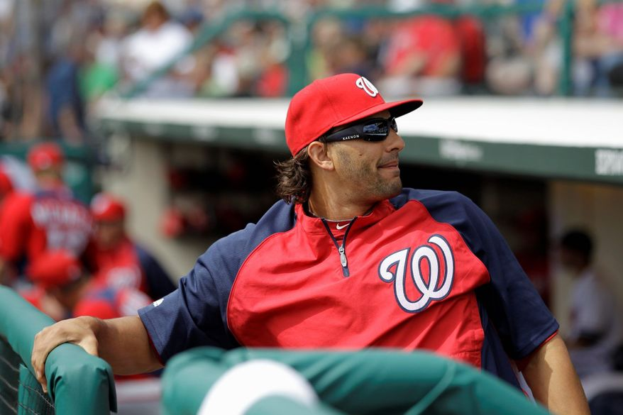 """Outfielder Michael Morse said of the players on the Class A Potomac Nationals, """"This is where the guys here will learn who they are."""" Morse appeared in two games with Potomac on a rehabilitation assignment. (Associated Press)"""