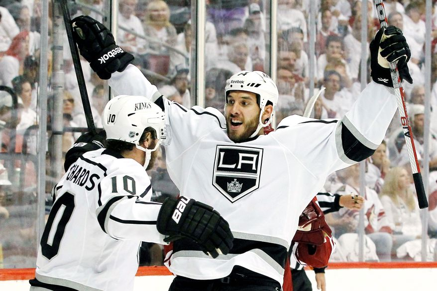 associated press photographs Dwight King has scored five goals in 14 postseason games in Los Angeles' march to the Stanley Cup Final. He scored five regular-season goals in 27 games. Brother D.J. (right) has had a tougher going in the NHL as an enforcer for the Capitals.