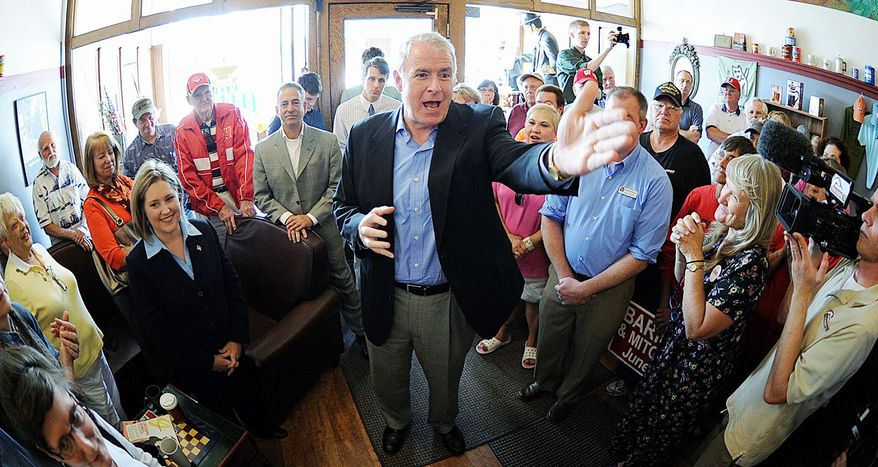 Democratic gubernatorial candidate Tom Barrett fires up the crowd on Tuesday, May 29, 2012, during a campaign stop in Wisconsin Rapids, Wis. (Associated Press)