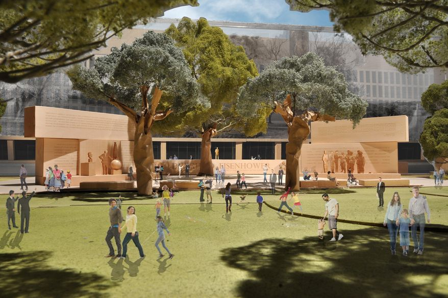 This model image, provided by the Eisenhower Memorial Commission, depicts the proposed Dwight D. Eisenhower Memorial to be built on the Mall. The family of Eisenhower, the 34th president, still objects to elements of its design. (Associated Press)