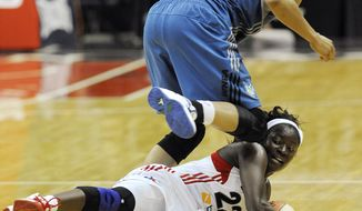 Matee Ajavon nearly single-handedly led the Washington Mystics to victory over the Minnesota Lynx, scoring eight of her 20 points in the fourth quarter, but they came up short, losing 79-77. Ajavon also had a career-high seven steals. (AP Photo/Richard Lipski)