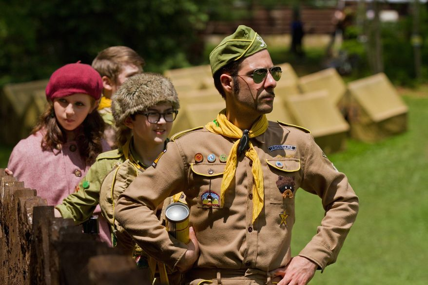 """""""Moonrise Kingdom,"""" the seventh feature film from writer-director Wes Anderson, stars (from left) Kara Hayward, Jared Gilman and Jason Schwartzman. (Focus Features via Associated Press)"""