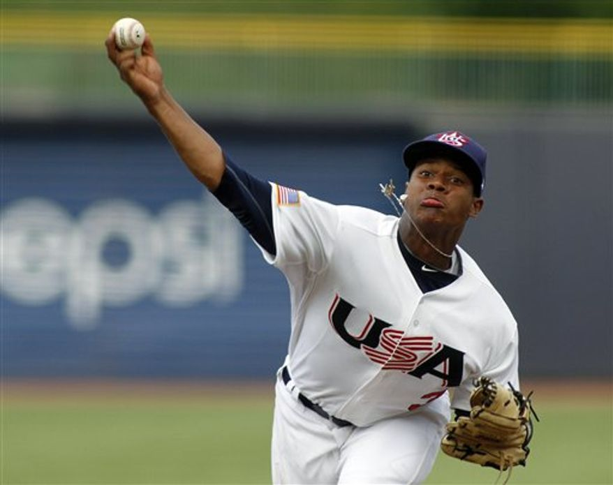 Duke pitcher Marcus Stroman, shown with the United States Collegiate National Team, is a player analysts are saying could fall to the Nationals at the 16th pick in the MLB draft. (AP Photo/Jim R. Bounds)