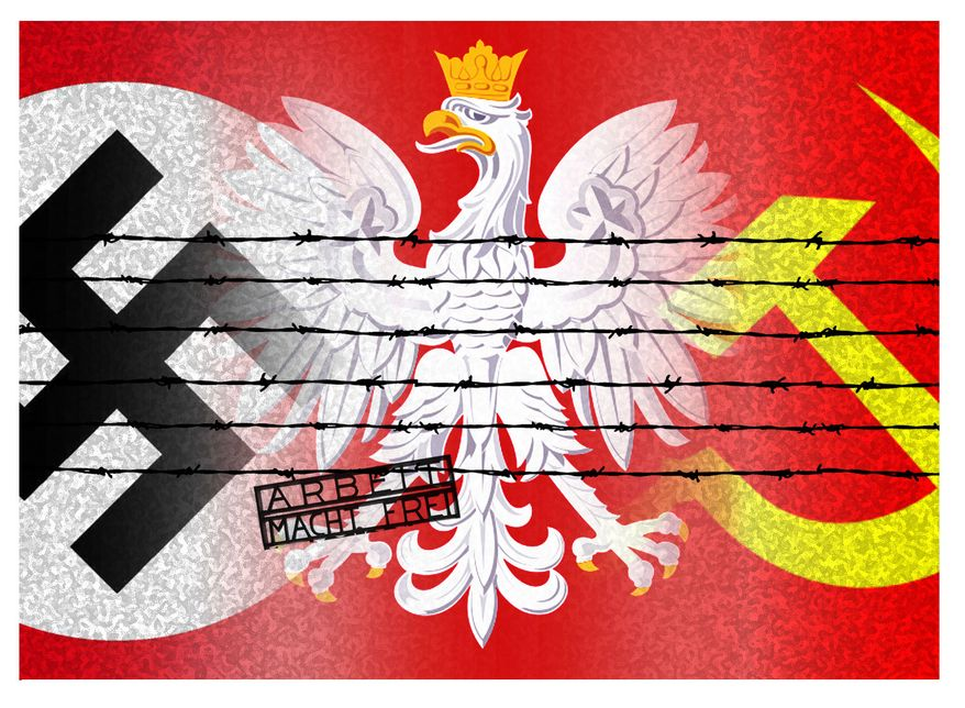 Illustration Obama's Holocaust Revisionism by Alexander Hunter for The Washington Times