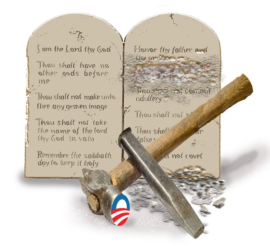 Illustration Obama's Commandments by John Camejo for The Washington Times