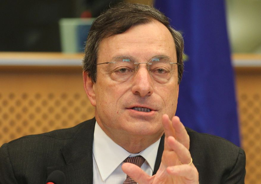 European Central Bank President Mario Draghi, in his capacity as head of the European Systemic Risk Board, reports to the European Parliament's Economic Committee in Brussels on Thursday, May 31, 2012. (AP Photo/Yves Logghe)
