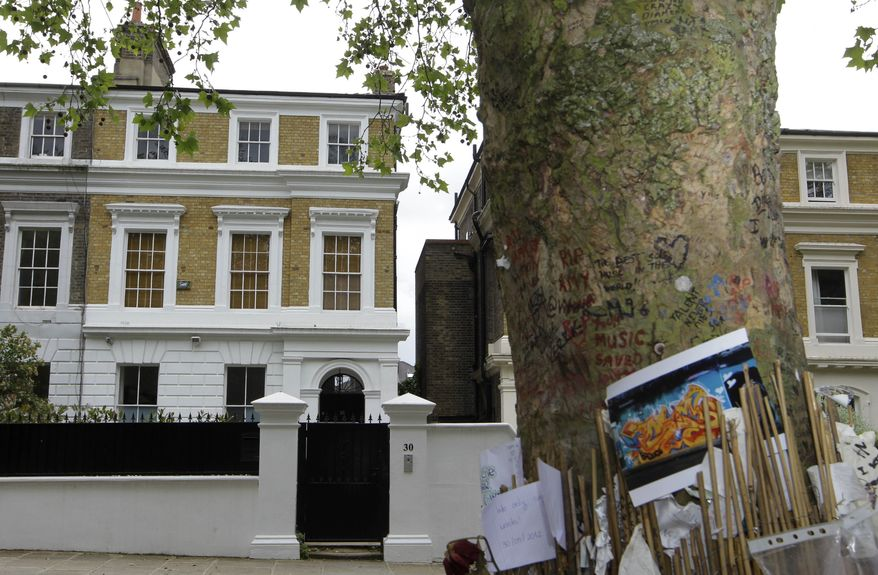 The house owned by the late British singer Amy Winehouse is seen in north London, Thursday, May 31, 2012. The family of Amy Winehouse has put the late singer's London home up for sale for 2.7 million pounds ($4.2 million). (AP Photo/Sang Tan)