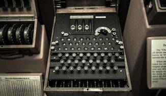 An American code-breaking machine known as an Enigma sits on display at the Cryptology Museum near Fort Meade, Maryland. This machine was used to send and receive encrypted messages to military forces during World War II. (The Washington Times/File)