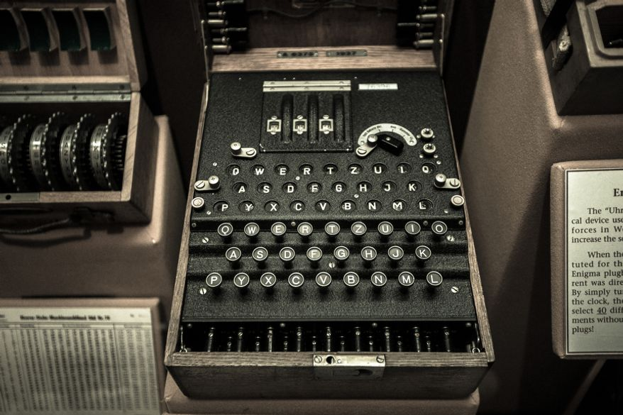 An American code breaking machine, known as an Enigma, sits on display at the Cryptology Museum near Fort Meade, Md., on April 27, 2012. This machine was used to send and receive encrypted messages to its military forces. (Andrew S. Geraci/The Washington Times)