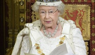 **FILE** Britain's Queen Elizabeth II speaks Dec. 3, 2008, from the throne in the House of Lords, during the State Opening of Parliament in London. (Associated Press)
