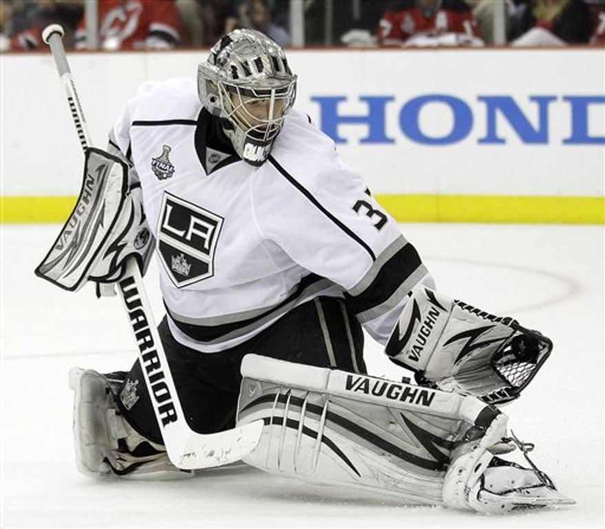 American Jonathan Quick is a finalist for the Vezina Trophy this season. (Associated Press)