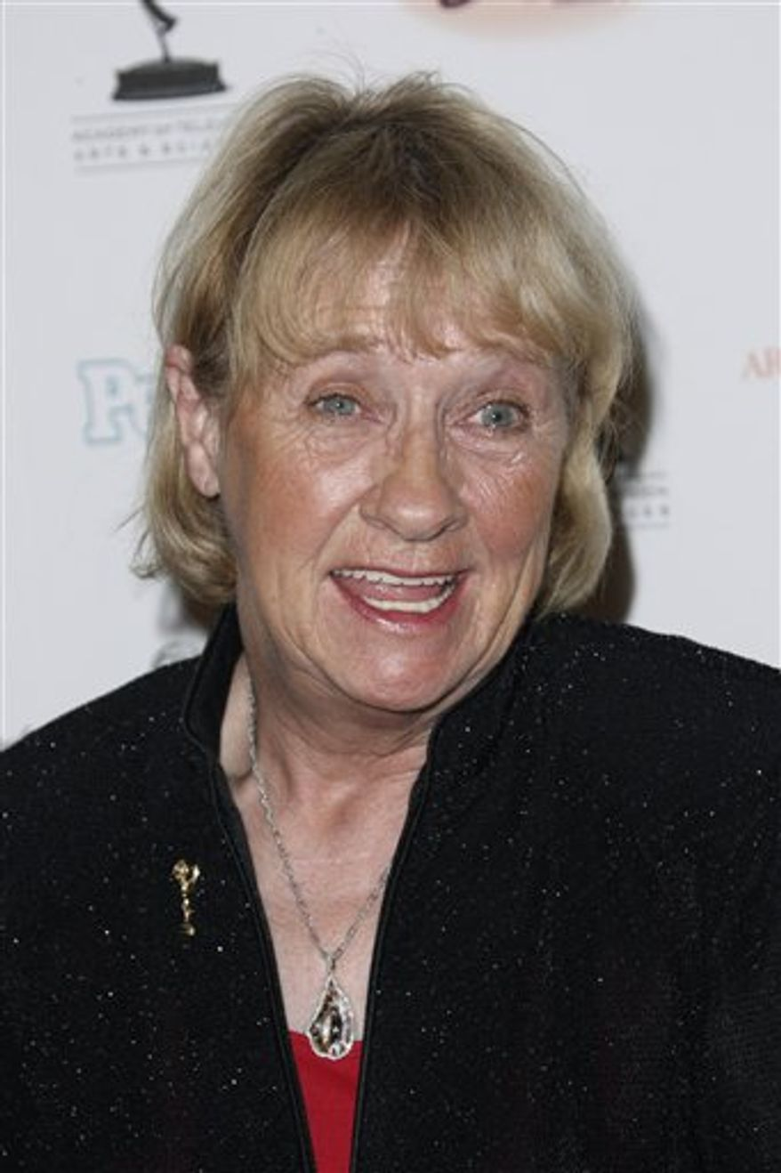 """FILE - In this Sept. 19, 2008 file photo, Kathryn Joosten arrives at the 2008 Primetime Emmy Awards Nominees for Outstanding Performance reception in Los Angeles. Joosten, the veteran character actress who played crotchety Karen McCluskey on ABC's """"Desperate Housewives,"""" died Saturday, June 2, 2012. She was 72. (AP Photo/Matt Sayles, File)"""