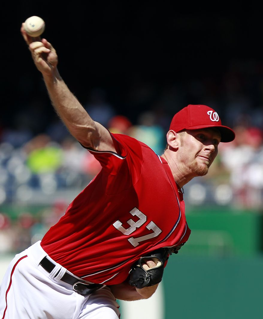 Washington Nationals starting pitcher Stephen Strasburg threw seven scoreless innings, striking out nine in the team's 2-0 win over the Atlanta Braves on Saturday at Nationals Park. (AP Photo/Alex Brandon)