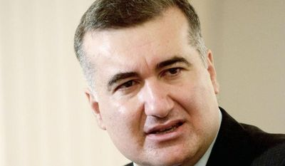 """""""Americans want to see a region that is free of terrorism and radicalism, they want to see nations which are able to cooperate in terms of religion and cultures, and that's what we want as well,"""" says Elin Suleymanov, Azerbaijan's ambassador to the U.S. (J.M. Eddins Jr./The Washington Times)"""
