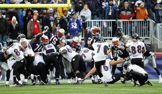 Baltimore kicker Billy Cundiff failed to send last season's AFC championship game into overtime when he was wide left on a 32-yard field goal attempt with 15 seconds remaining. (Associated Press)