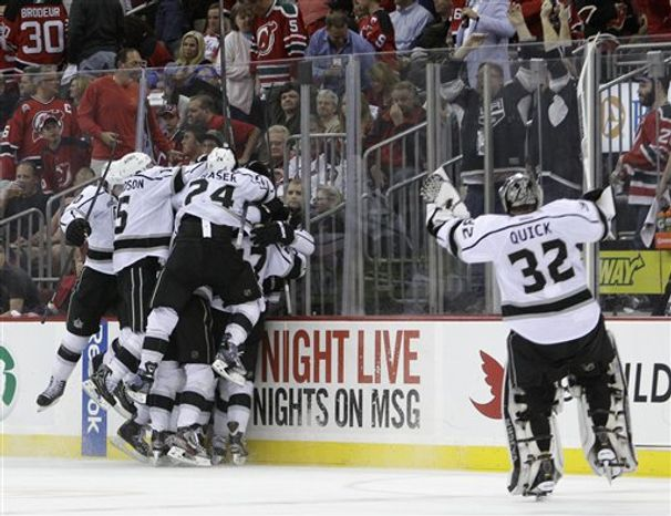The Kings tied an NHL playoff record Saturday with 10 road victories. (Associated Press)