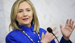 U.S. Secretary of State Hillary Rodham Clinton talks to media at a press conference at Sweden's Rosenbad governmental offices in Stockholm on Sunday, June 3, 2012. (AP Photo/Erik Martensson)