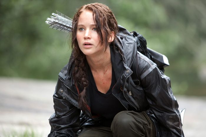 "Jennifer Lawrence on Sunday won the MTV Movie Award for best female performance for her role in ""The Hunger Games."" The dystopian survival saga notched four wins out of eight nominations. (Lionsgate via Associated Press)"