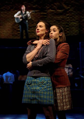 "Elizabeth A. Davis (left) and Cristin Milioti perform a scene from the musical ""Once,"" which won four Drama Desk Awards on Sunday, including one for best musical. It is nominated for 11 Tonys. (B"