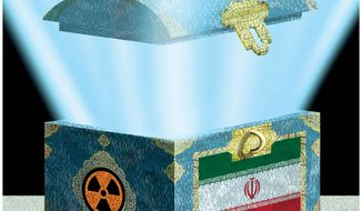 Illustration: Iran box by Alexander Hunter for The Washington Times