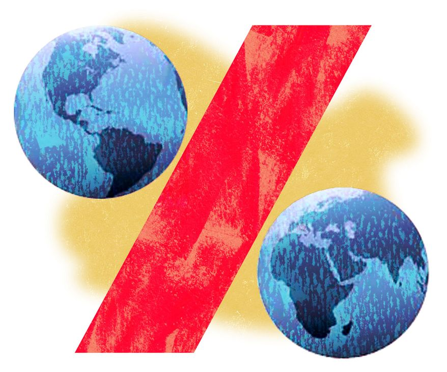 Illustration: Global taxes by Alexander Hunter for The Washington Times