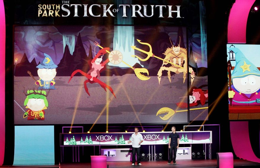 """South Park"" creators Trey Parker and Matt Stone present the TV show's corresponding video game, ""South Park: The Stick of Truth,"" at a Microsoft Xbox 360 press event Monday in Los Angeles. (Associated Press)"