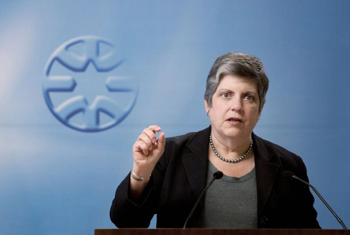 """Secretary of Homeland Security Janet A. Napolitano says the U.S.-Canada border """"presents unique security challenges based on geography, weather and the immense volume of trade and travel."""" (Associated Press)"""
