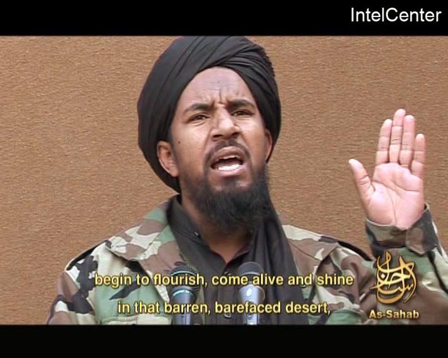 ** FILE ** This March 25, 2007, file image, made from video posted on a website frequented by Islamist militants and provided via the IntelCenter, shows al Qaeda militant Abu Yahia al-Libi. A CIA drone strike Monday, June 4, 2012, targeted al Qaeda's second in command in Pakistan, but it was unclear whether he was among those hit, U.S. officials said. The Associated Press has no way of independently verifying the content, location or date of this video. (AP Photo/IntelCenter, File)