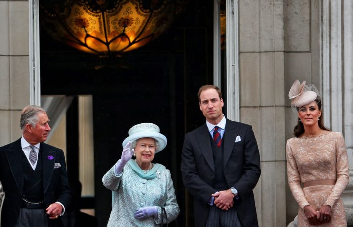 ** FILE ** Britain's Queen Elizabeth II, 2nd left, Prince Charles, left, and Prince William, and Kate, Duchess of Cambridge appear on the balcony of Buckingham Palace in central London, Tuesday, June 5, 2012, to conclude the four-day Diamond Jubilee celebrations to mark the 60th anniversary of the