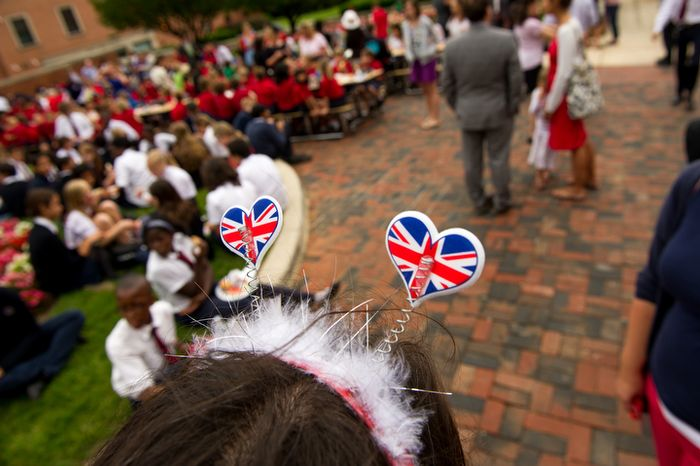 "Karen Pena, a history teacher with the The British School of Washington, wears hearts made out of the British flag on her head during the school's ""Big Picnic Lunch"" in celebration of Queen Elizabeth's Diamond Jubilee, Washington, D.C., Tuesday, June 5, 2012.  (Andrew Harnik/The Washington Times)"