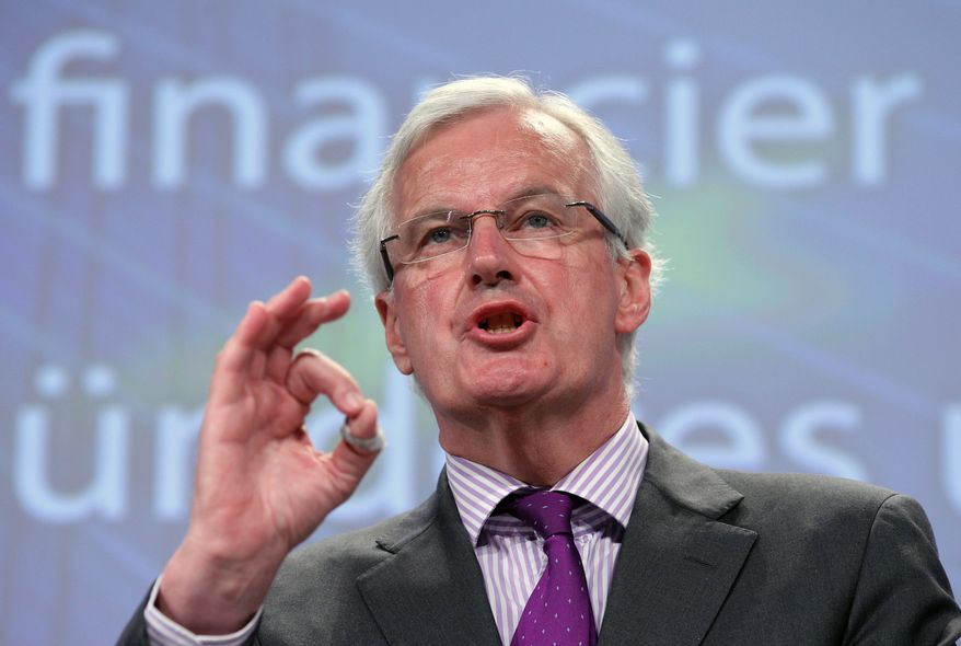 Michel Barnier, European Commissioner for Internal Market and Services, addresses the media June 6, 2012, at the European Commission headquarters in Brussels on a new framework for bank recovery and resolution. (Associated Press)