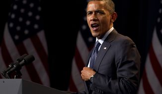 President Obama speaks at a campaign event at the Beverly Wilshire Hotel, Wednesday, June 6, 2012, in Los Angeles. (Associated Press)