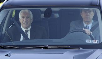 Former Penn State assistant football coach Jerry Sandusky (left) arrives with his attorney, Joe Amendola, at the Centre County Courthouse in Bellefonte, Pa., on Wednesday, June 6, 2012, the second day of jury selection in Sandusky's trial on 52 counts of child sexual abuse. (AP Photo/Gene J. Puskar)
