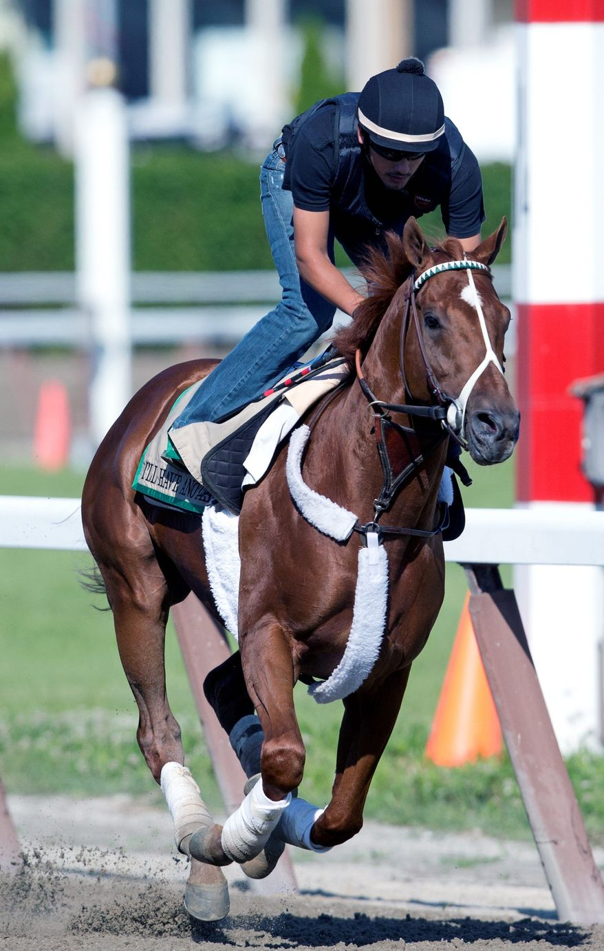 I'll Have Another with exercise rider Jonny Garcia up, trains at Belmont Park in Elmont, N.Y., on Thursday, June 7, 2012. The winner of the Kentucky Derby and Preakness will attempt to win the Belmont Stakes horse race and Triple Crown on Saturday. (AP Photo/Mike Groll)