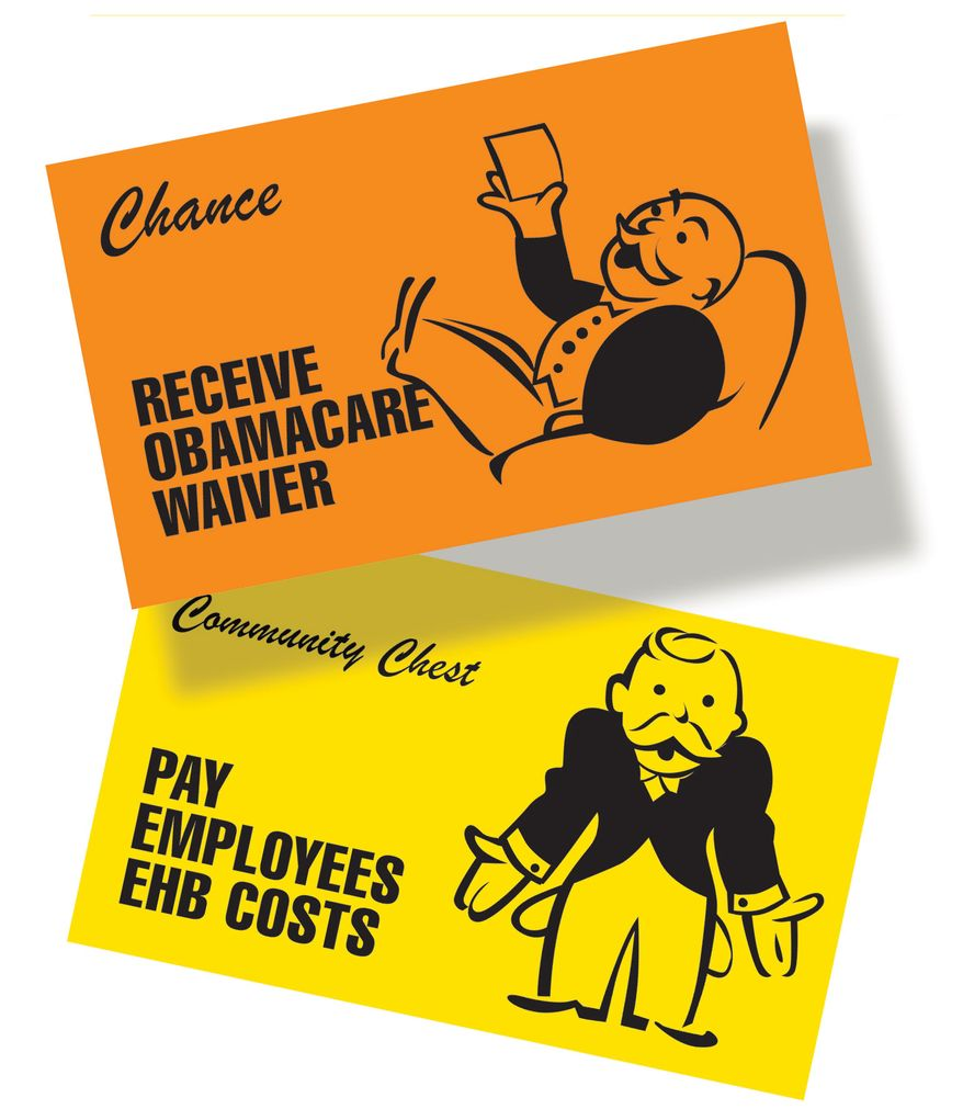Illustration Small business monopoly by Linas Garsys for The Washington Times