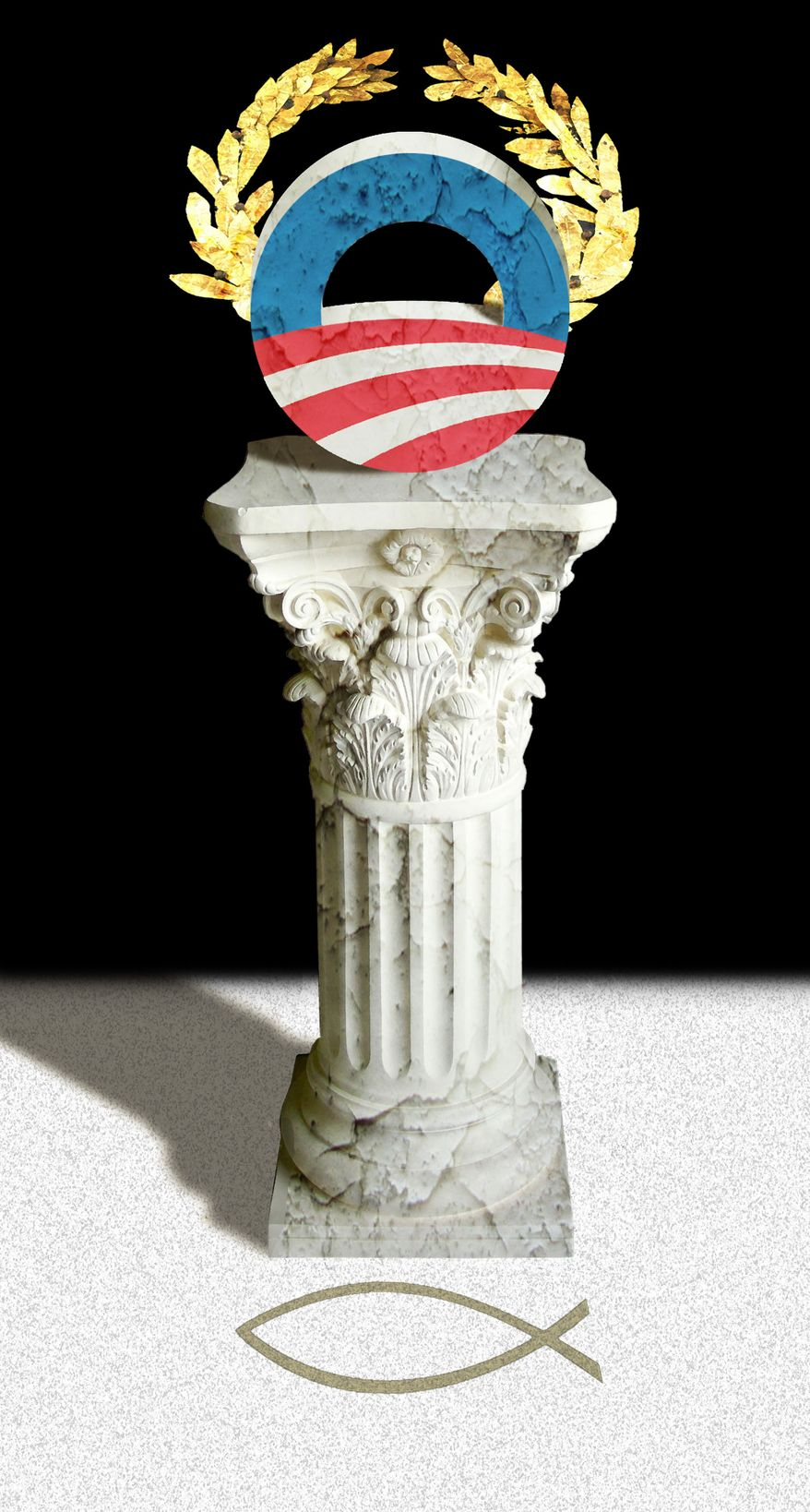 Illustration Obama's anti-Christianity by Alexander Hunter for The Washington Times
