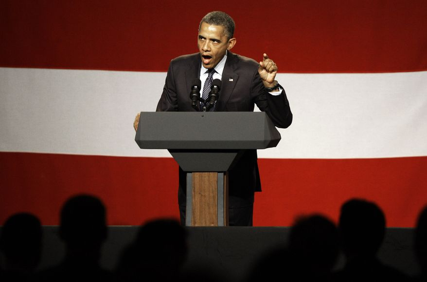 President Obama speaks June 6, 2012, at a campaign fundraiser at the Beverly Wilshire Hotel in Beverly Hills, Calif. (Associated Press)