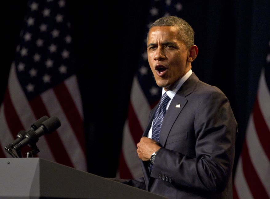 President Obama speaks on Wednesday, June 6, 2012, at a campaign event at the Beverly Wilshire Hotel in Los Angeles. (Associated Press)