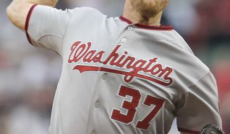 Stephen Strasburg struck out 13 batters as the Washington Nationals defeated the Boston Red Sox on Saturday night 7-4.. (AP Photo/Charles Krupa)
