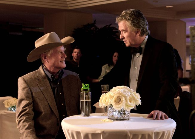 """Larry Hagman (left) and Patrick Duffy reprise their roles as oil barons J.R. and Bobby Ewing, respectively, on TNT's relaunch of the show """"Dallas."""" This chapter keeps up with the times by working environmental issues into the plot. (TNT via Associated Press)"""