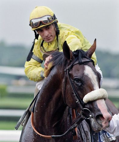 Jockey John Velazquez cools down Union Rags after his victory in the 1 1/2-mile Belmont Stakes on Saturday. (Associated Press)