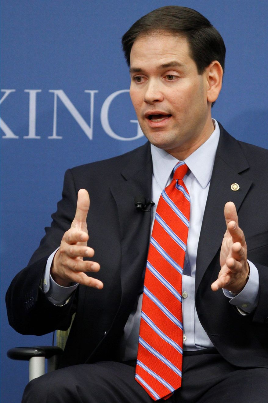 Sen. Marco Rubio, Florida Republican, has said he does not expect to be on the GOP ticket this year, but he has campaigned with the likely nominee. (Associated Press)