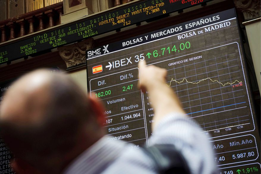 Spain's Spain's Ibex stock index finished with a 0.5 percent loss Monday after an initial surge pushed by news that Spanish banks would receive up to $124.7 billion in loans from eurozone partners. Repayment is problematical. (Associated Press)