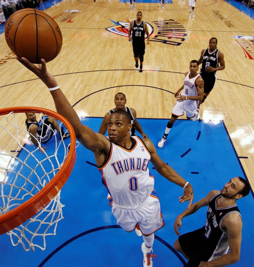 Oklahoma City point guard Russell Westbrook, who has 1,097 in his four-year NBA career, is committing fewer turnovers and dishing out more assists in the postseason, (Associated Press)