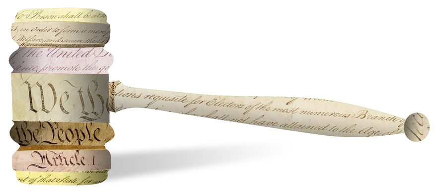 Illustration Constitution gavel by Linas Garsys for The Washington Times