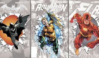 "This combo made from images provided by DC Entertainment show covers of the publisher's zero issues of, from left, ""Batman,"" ""Aquaman,"" and ""The Flash."" In September, DC Entertainment will publish a zero issue for its 52 titles, a move that co-publishers Jim Lee and Dan DiDio said this week will help explain the origins and effects of its rebooted characters a year after it erased decades of history and continuity to start everything from scratch. (AP Photo/DC Entertainment)"