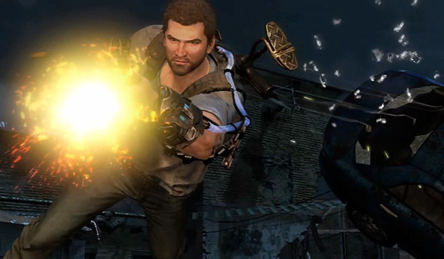 Davis Russel floats and shoots in the video game Inversion.