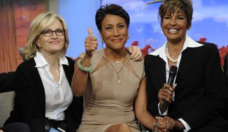 """Good Morning America"" host Robin Roberts (center), with sister Sally-Ann Roberts (right) and ABC News anchor Diane Sawyer, announced on ABC's ""GMA"" on Monday, June 11, 2012, that she has been diagnosed with myelodysplastic syndrome, a blood and bone marrow disease once known as preleukemia. (AP Photo/ABC, Ida Mae Astute)"
