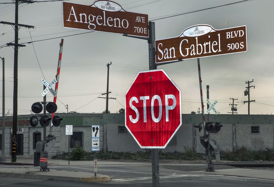 An intersection in the San Gabriel area of Los Angeles is seen June 11, 2012. U.S. Commerce Department Secretary John Bryson was involved with a traffic accident in the intersection two days prior after suffering a seizure, officials said. (Associated Press)